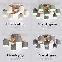 Nordic дерева E27 потолочный светильник просто Книги по искусству гладить потолочный светильник Спальня Гостиная светодио дный Кухня столовая