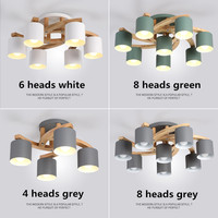 Nordic Wood E27 Ceiling Lamp Simple Art Iron Ceiling Light Bedroom Living Room LED Kitchen Dining & Bar Luminaire Fixtures Avize