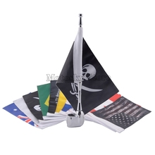 цена на Motorcycle pirate Flag & Mast Kit Eagle Rear Side Mount Flag Pole Luggage Rack For Honda GoldWing GL1800 01-2011 New Version