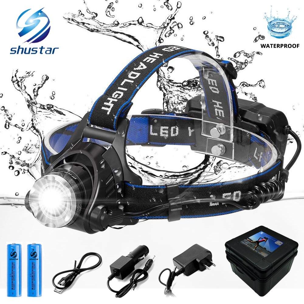 LED headlamp fishing headlight 6000 lumen CREE XM-L2 XML-T6 Zoomable lamp Waterproof Head Torch flashlight Head lamp use 18650 head lamp