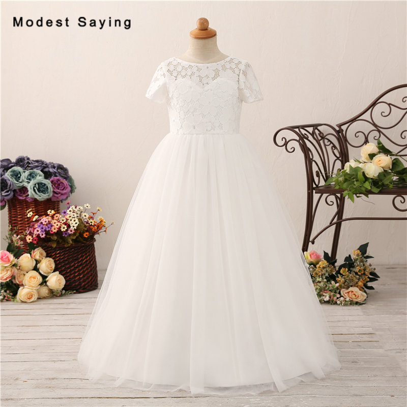 New Ivory Ball Gown Short Sleeve Lace Cover   Flower     Girl     Dresses   2018 Kids   Girls   Long Pageant Party Prom Gowns vestido de daminha