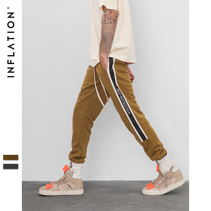 INFLATION Men's High Street Fashion Hip Hop Elastic Waist Casual Cargo Pants Women Male Loose Harem Pants Jogger Trousers 8830W