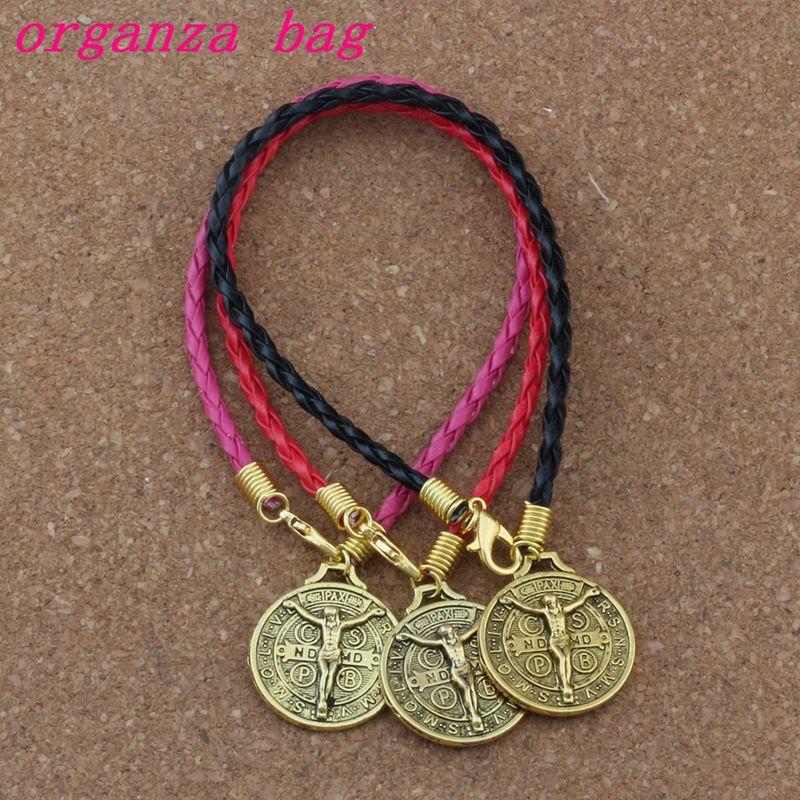 20pcs/lots Leather Bracelet Antique Gold Saint Jesus Benedict Nursia Patron Medal Crucifix Cross Alloy Charms Pendants Bracelet Unequal In Performance