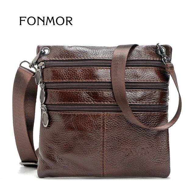 FONMOR Brand 100% Genuine leather men bag Fashion men small shoulder  crossbody bags Thin design Casual messenger bags 894d06f0f72d5