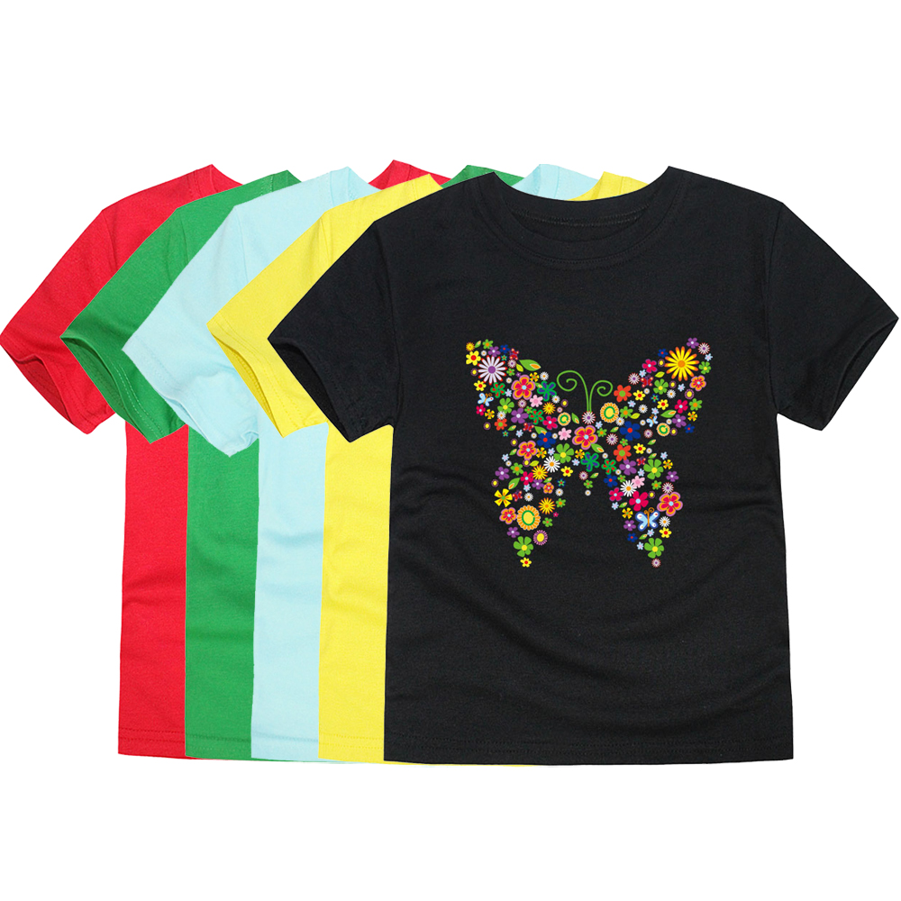 T-Shirts Kids Tops Floral Butterfly Toddler Girls Summer Clothing Flower 3D