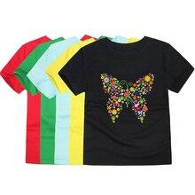 ca7e3a305f5750 2019 maluch dziewczynek motyl 3D koszulki z krótkim rękawem dla dzieci  kwiatowy motyl T koszula dzieci