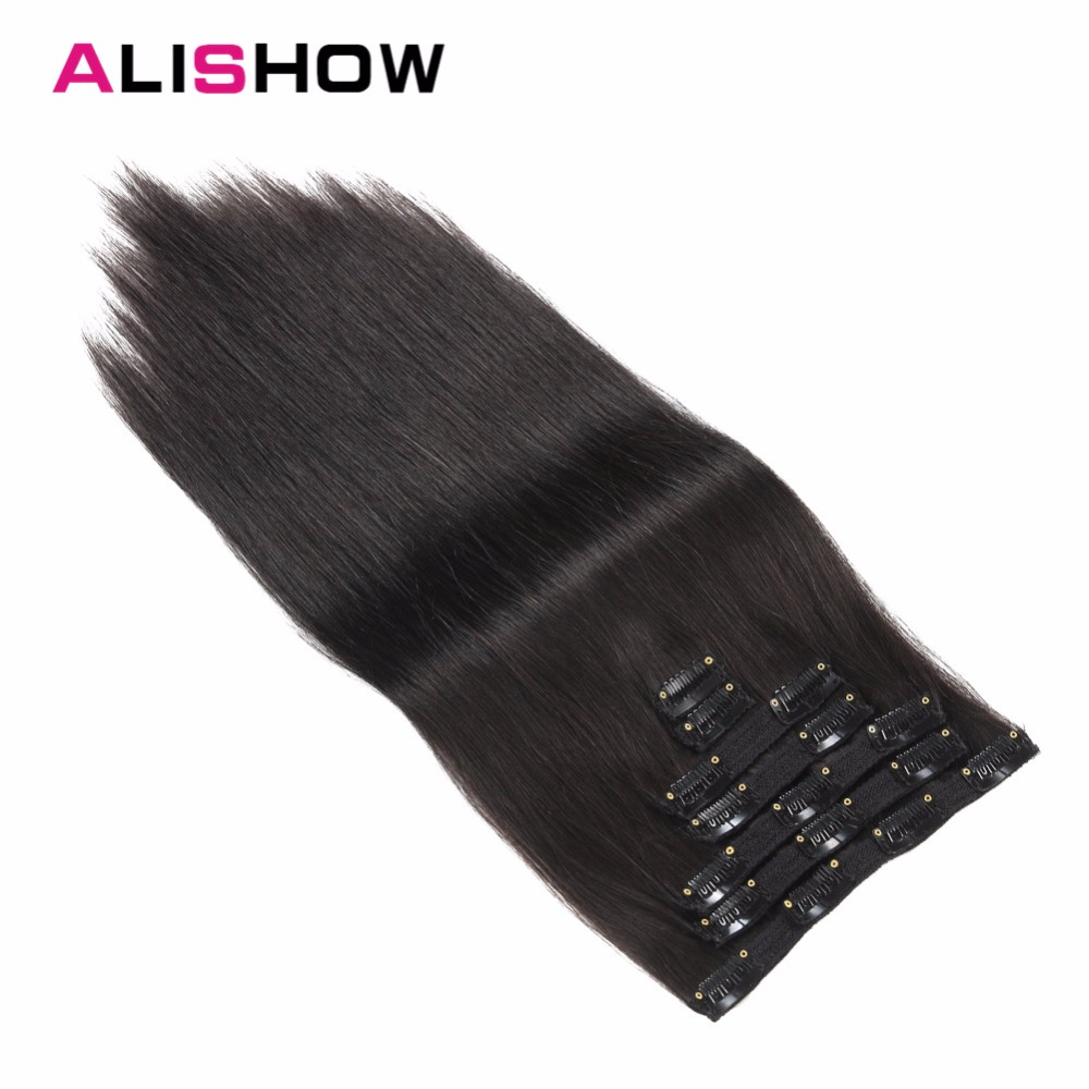 Alishow Clip in Remy Human Hair Extensions Full Head Straight 100g 14inch-24inch 7pcs Double Drawn Nature Human Hair in clips(China)