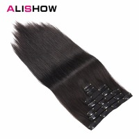 Alishow Clip in Remy Human Hair Extensions Full Head Straight 100g 14inch 24inch 7pcs Double Drawn Nature Human Hair in clips