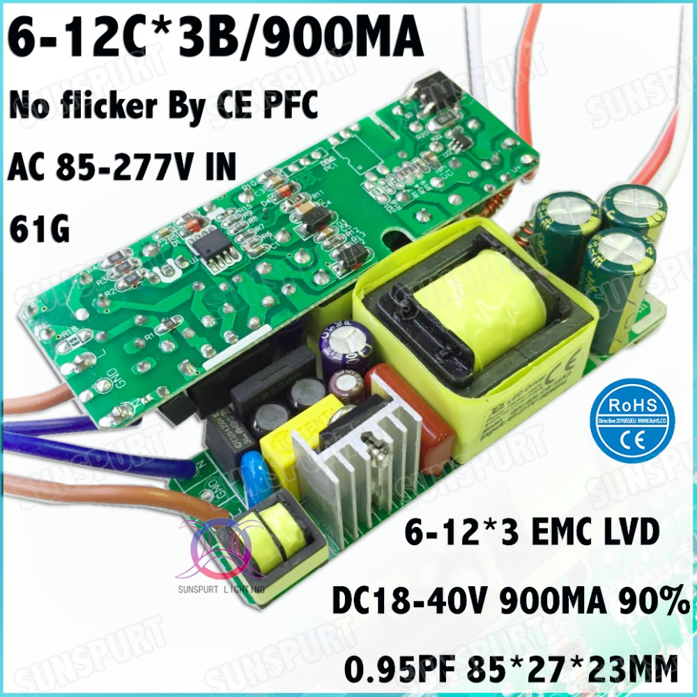 3Pcs By CE No Flicker 40W AC85-277V LED Driver 6-12Cx3B 900MA DC18-40V Constant Current LEDPower For LED Spotlight Free Shipping