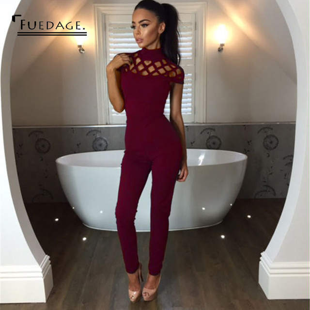 75016c34450 placeholder 3 Color Summer Sexy O-Neck Short Sleeve Jumpsuits Simple Hollow  Out Elegant Overalls Rompers