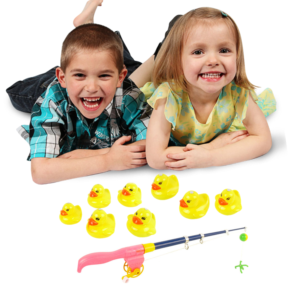 Kids Fishing Toys 2 Sets Magnetic Yellow Duck Fishing Toy With Fishing Rod Kids Bath Toy Pretend Play Early Educational ToysOutdoor Fun & Sports