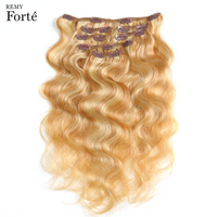 Remy Forte Clip In Human Hair Extensions P27/613 613 Piano Blonde Human Hair Clip 7 Pcs 115g Clip In Full Head Body Hair Clip