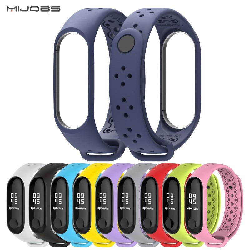 Mijobs NEW Mi Band 3 Strap Silicone Bracelet Wrist Strap For Xiomi Mi Band 3 Smart Watch Bracelet Sport Miband 3 Strap Mi Band3