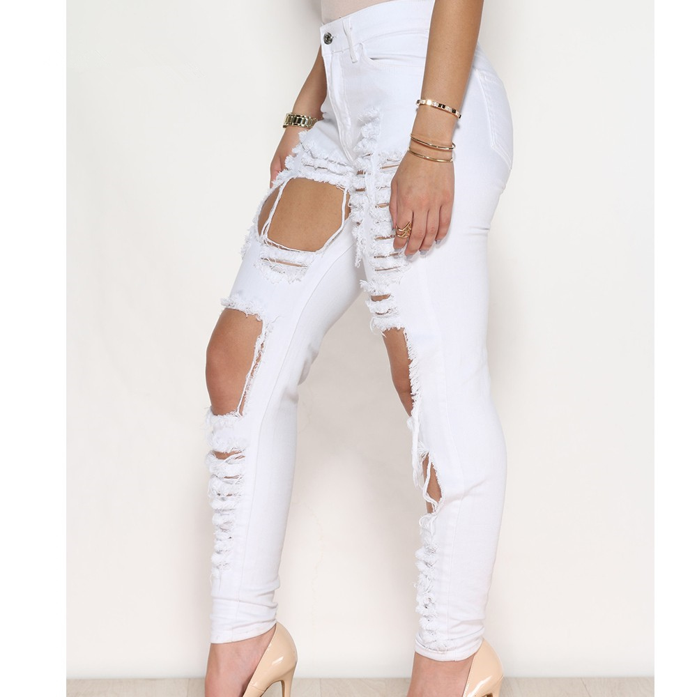 high waisted white ripped jeans - Jean Yu Beauty