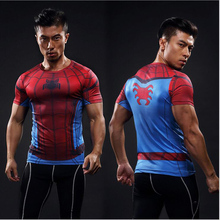 Fashion Men t-shirt Elastic Tshirt Spiderman T Shirt Super Hero Short Sleeve T-shirt Spider-man Gym