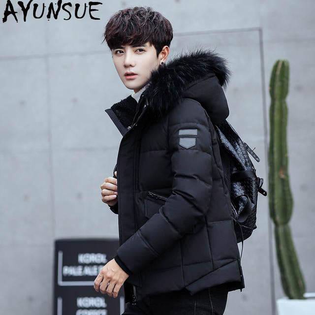 b46d95f55 AYUNSUE Duck Down Jacket Men Short Winter Coat for Men Korean Black Puffer  Men's Jackets Detachable Hat Parka Pluma Hombre KJ789