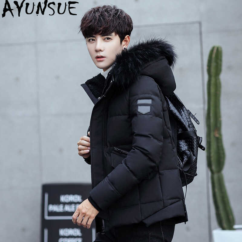 141f68eff AYUNSUE Duck Down Jacket Men Short Winter Coat for Men Korean Black Puffer  Men's Jackets Detachable Hat Parka Pluma Hombre KJ789