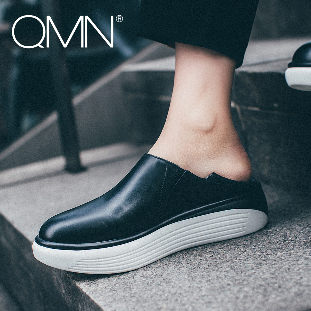 QMN women genuine leather platform flats Women Round Toe Flat Heel Slip On Leisure Shoes Woman 2017 New Leather Platform Loafers  qmn women genuine leather flats women horsehair loafers retro square toe slip on flat platform shoes woman creepers 34 42