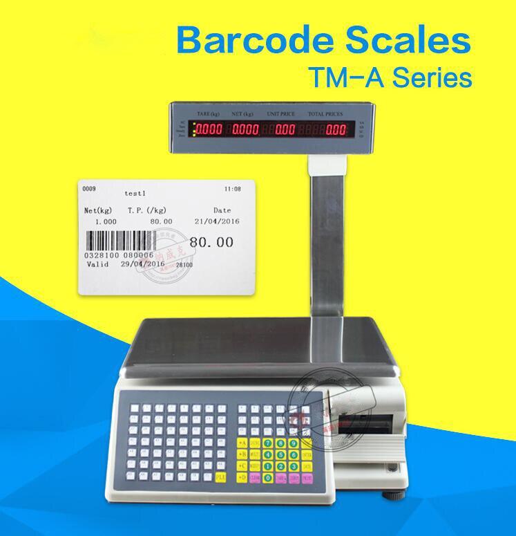 Échelle de caisse de machine de pondération de code barres de version anglaise de 15 kg/30 kg pour des balances électroniques de Fruit de nourriture de supermarché