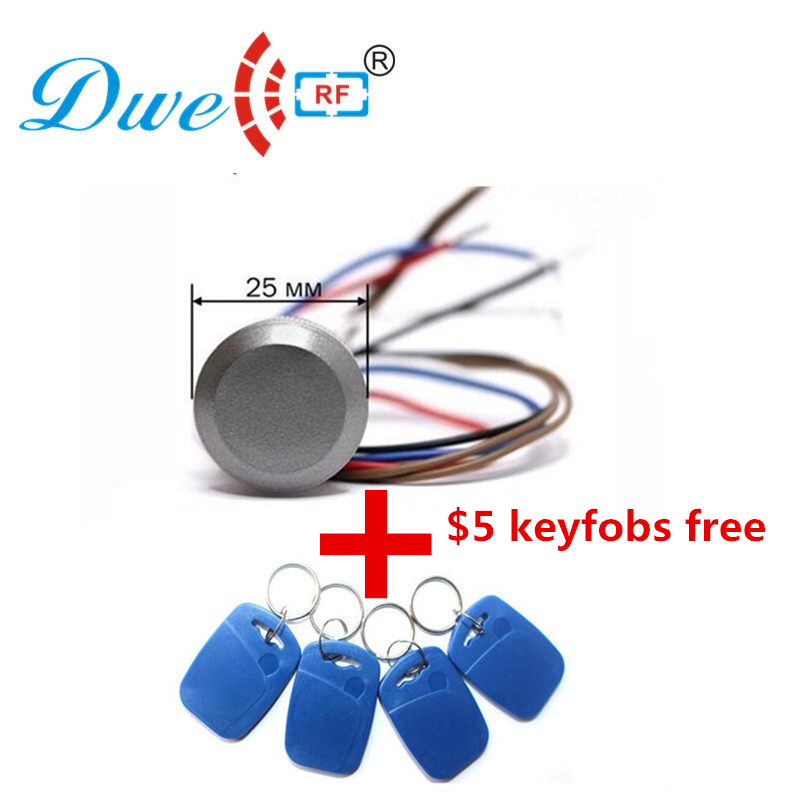 DWE CC RF Access Control Kits gate 12V rfid mini reader 125khz wiegand 26 rf id tag readers with $5 keyfobs free dwe cc rf wiegand26 125khz rfid id card tag keyfob reader waterproof access control wg26