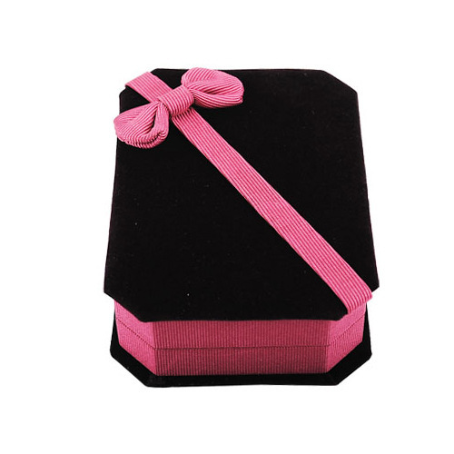 High quality flock printing bow jewelry box necklace box bracelet gift box crystal accessories packaging box