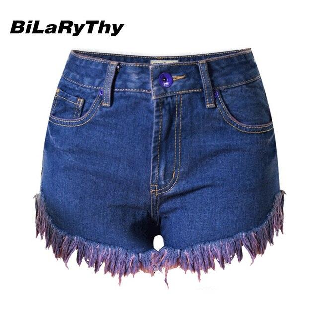 BiLaRyThy Fashion Women Elastic High Waist Denim Shorts Solid Blue Slim Fit Short Jeans Casual Shorts Jeans Feminino