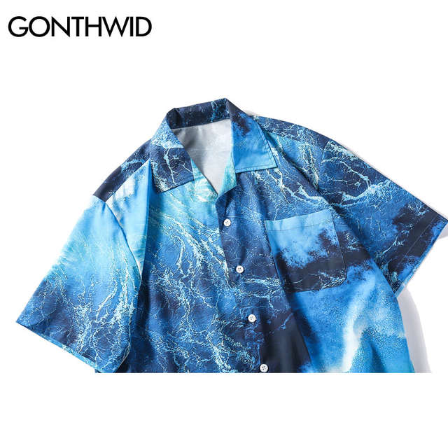14d54f603ea34 GONTHWID Sea Wave Printed Beach Shirts Summer Men Hawaiian Aloha Party  Holiday Short Sleve Shirts Hip Hop Male Casual Streetwear