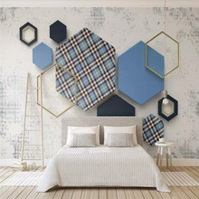 Quadrilateral plaid mosaic pattern 3d geometric background wall professional production mural wallpaper custom poster photo