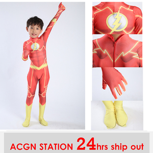 Image 1 - Thor costume kids Kids Magical Fancy Flash Man cosplay costume Spandex jumpsuit body suit for Halloween costumes free shipping