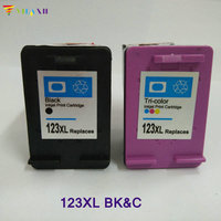 2pcs Vilaxh compatible 123 xl Ink cartridge replacement for hp 123 123xl Deskjet 2130 1110 3630 2132 1111 1112 3632 Printer ink