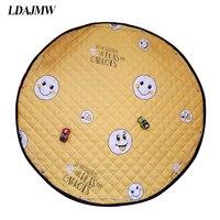 LDAJMW Portable Kids Toys Storage Bag Floor Playing Blanket Bauble Organizer Foldable Drawstring Baby Circular Crawling