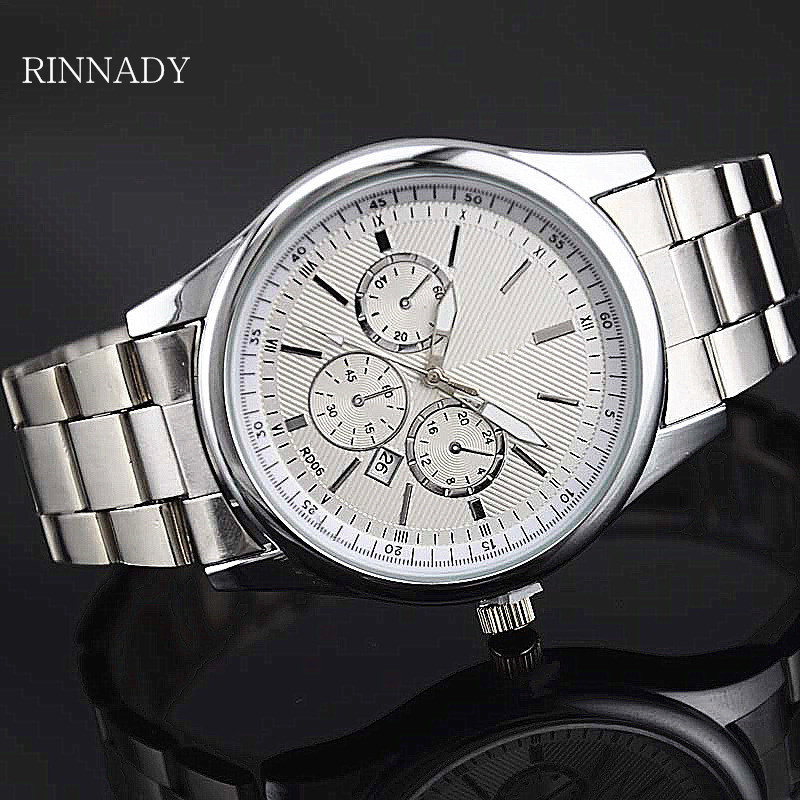 RINNADY 2017 Men mens watches top brand luxury waterproof quartz stainless steel watch Business Relogio Masculino Reloj Hombre reloj hombre crrju luxury brand simple fashion casual business watches men date waterproof quartz mens watch relogio masculino