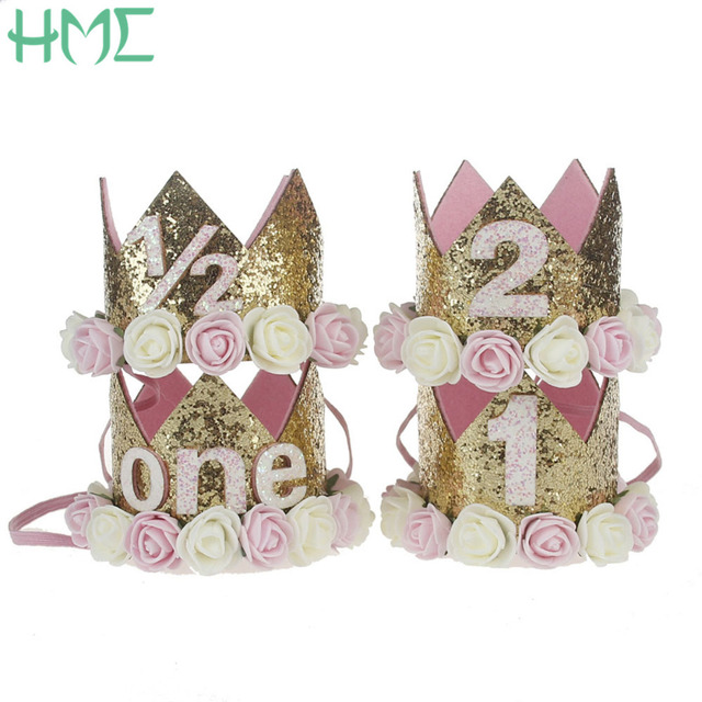 1PCSGirl First Birthday Decor 1st Flower Party Crown One Year Old Number Priness Pink Hat Baby Hair Accessory