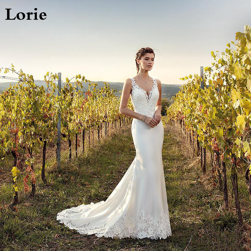 LORIE Mermaid Lace Wedding Dress V Neck Sleeveless  Boho Bridal Dress Lace Appliques Buttons Back Turkey Wedding Gowns