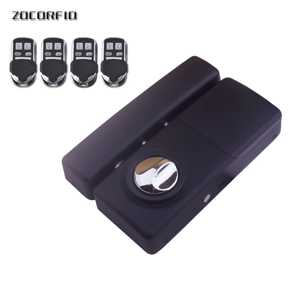 Electronic Door Lock Keyless Wireless Remote Control Intelligent Lock Invisible For Home Security 4 remote controller