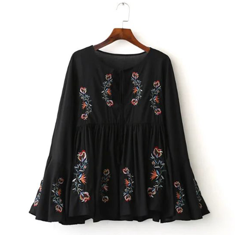 2017 Vintage Women Floral Embroidery Blouse Shirt Flare