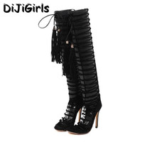Tassels High Heels Knee High Cool Boots Strappy Sandals Summer Women Sexy Narrow Band Gladiator Stiletto