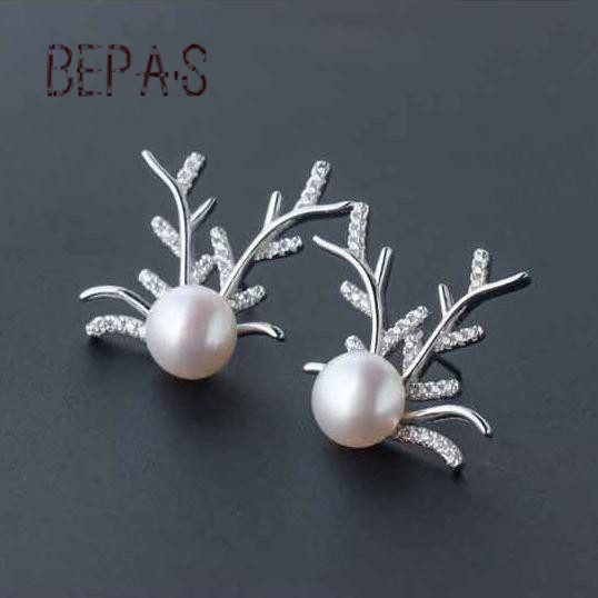Bepa's 925 Sterling Silver Natural Pearl Earrings Jewellery Women's 2016 Fashion Antlers Shaped Post Stud Earrings Gifts