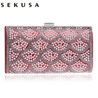 Sekusa One Side Beaded Women Evening Bags Messenger Metal Day Clutches Purse Chain Shoulder Small Day Clutches Evening Bag