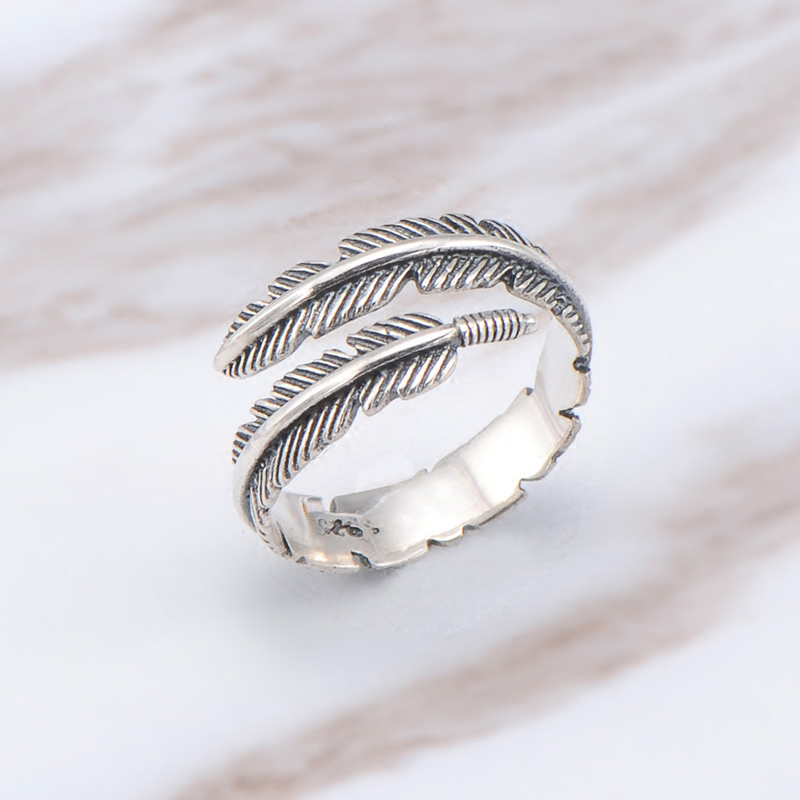 Boho Adjustable Chic Feather Leaf Ring Vintage Thai Silver Color Men Women Wedding Hippie Punk Biker Spinner Rotatable Rings