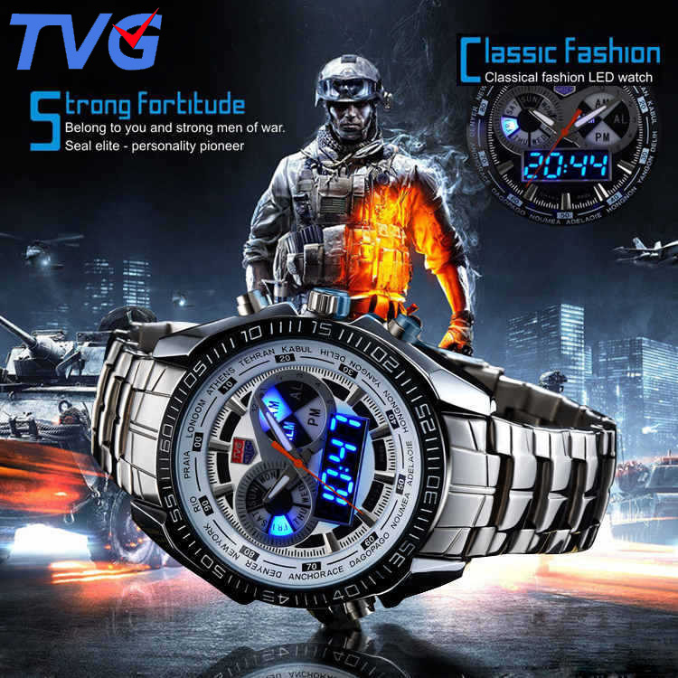 Men Watches waterproof Quartz Watch Double display Sport TVG Brand Digital LED Military writewatch Stainless Steel Male Clock tvg male sports watch men full stainless steel waterproof quartz watch digital analog dual display men s led military watches