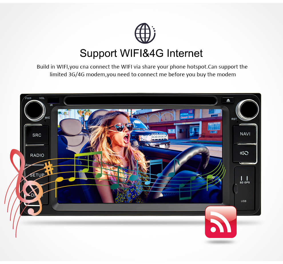 Image 5 - Universal Android 9.0 DVD GPS Navigation Radio Video Player Stereo 4G RAM+32G ROM 2 Din Wifi Bluetooth headunit Car Multimedia-in Car Multimedia Player from Automobiles & Motorcycles
