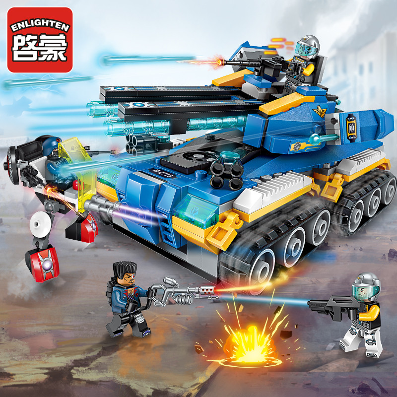Enlighten Building Block High-Tech Era Apocalypse Tank 4 Figures 398pcs Educational Technic Bricks Toy For Boy Gift-No Box