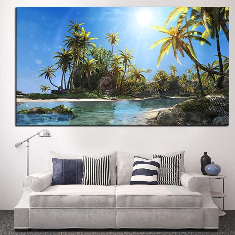 웃 유Sol Coco Árboles paisaje marino paisaje cuadro pintura HD ...