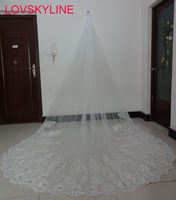 Real photo 3.2M Meter Ivory Cathedral Wedding Veils Long Lace Edge Bridal Veil Wedding Accessories Bride Mantilla Wedding Veil