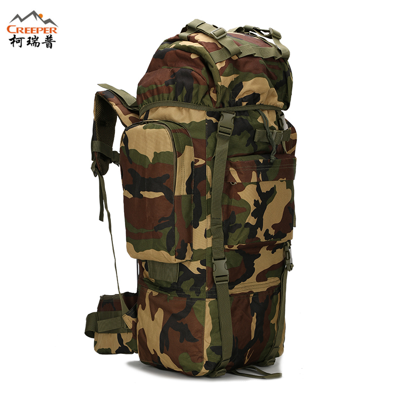 CREEPER Metal Bracket Backpack Outdoor Sports Bag Military Tactical Bags Hiking Camping Waterproof Wear-resisting Nylon Bag 65L 65l outdoor sports multifunctional heavy duty backpack military hiking