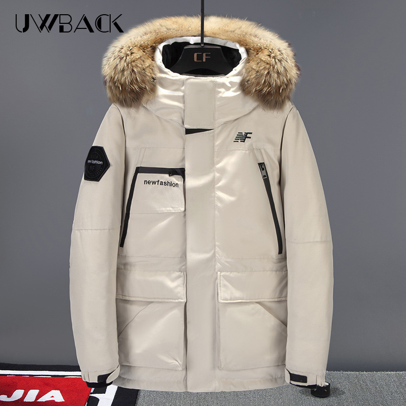 2019 Men's Down Jacket Thick Warm 90% White Duck Down Hooded Natural Fur Collar Man Down Jacket Waterproof Down Coat Man DA013