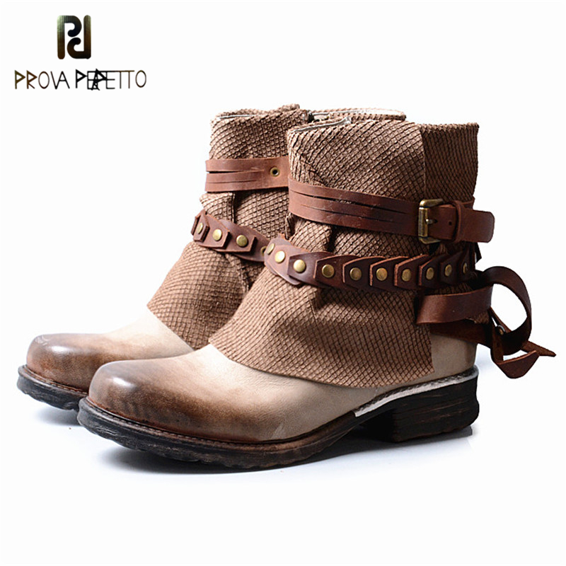 Prova Perfetto British Style Fashion Genuine Leather Patchwork Buckle Strap Woman Short Boots Retro Design Low Heel Zip Boots prova perfetto british style elegant sheep genuine leather ankle buckle hollow out flower boots back strap chunky high heel boot