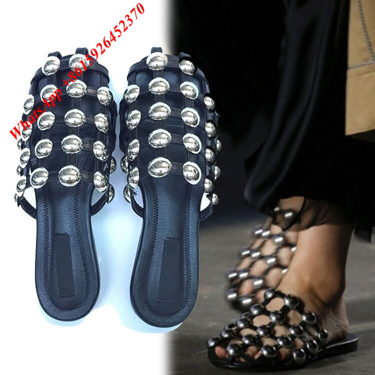 703e8b72637 New Designer Caged Studded Sexy Ladies Flip Flops Gladiator Women Sandals  Runways Women Flats Black Nude Cut Out Shoes Woman