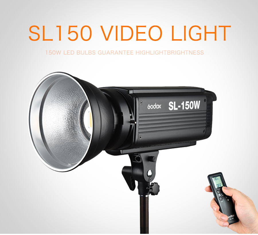 New LED Godox SL150 150W White Version 3200K Studio Continuous LED Video Light Lamp Bowens Mount + Remote Control new godox led308w ii 5600k white led remote control professional video studio light ac adapter hot selling